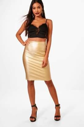 boohoo Metallic PU Midi Skirt