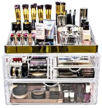 Sorbus X-Large Two Piece Makeup Storage Organizer - Gold
