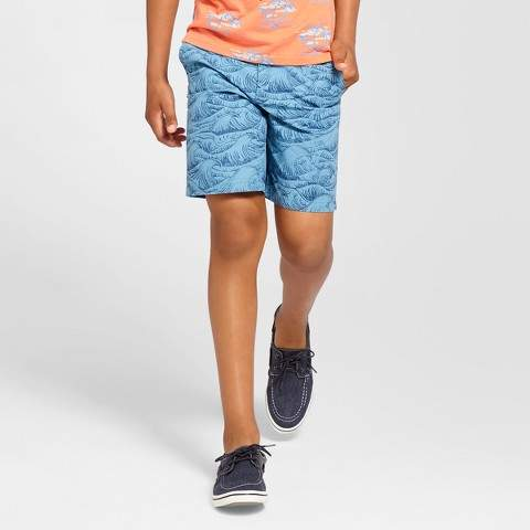 Boys' Flat Front Chino Shorts Blue Wave 14