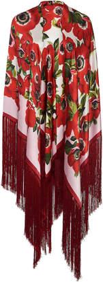 Dolce & Gabbana Floral-Print Fringed Silk Shawl