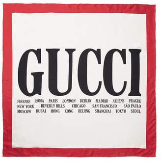 Gucci Printed Silk-twill Scarf - White