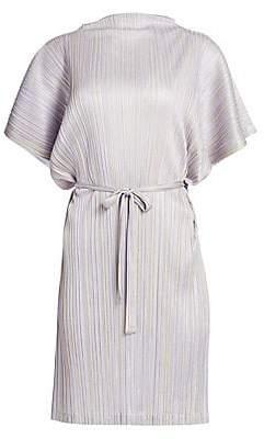 Pleats Please Issey Miyake Women's Shiny Stripes Short Sleeve Dress