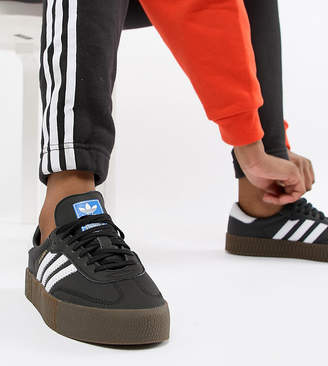 77f33ce11bb950 adidas Samba Rose Trainers In Black With Dark Gum Sole