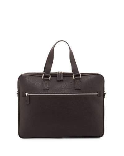 A. Testonia.testoni Grained Calf Leather Double-Gusset Briefcase, Brown