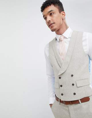 Harry Brown Wedding Donegal Skinny Fit Curved Waistcoat