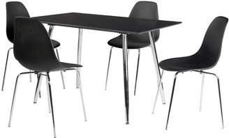 Camilla And Marc Ideal Home San Fran 120 cm Dining Table + 4 Chairs - Black