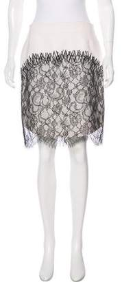 Rochas Lace-Accented Knee-Length Skirt