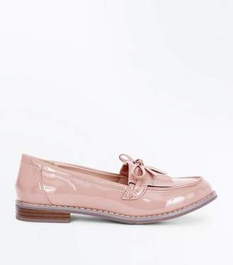 New Look Girls Pink Patent Bow Front Loafers