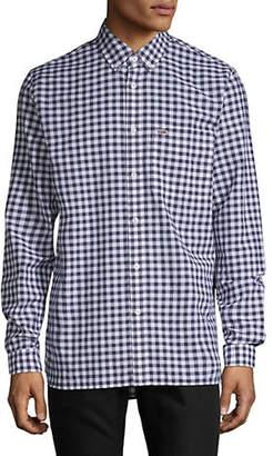 Lacoste Gingham Cotton Linen Button-Down Shirt