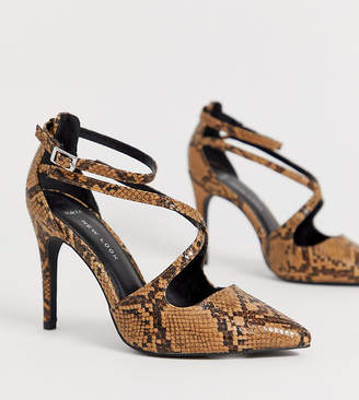 874ee630daf9 New Look Wide Fit Wide fit strappy heel in snake