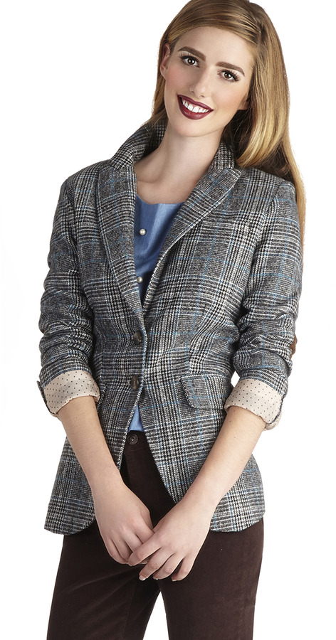 Patch in Action Blazer in Blue and Grey
