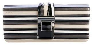 Giorgio Armani Striped Patent Clutch