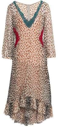 Marco De Vincenzo Lace-Trimmed Printed Silk-Georgette Dress