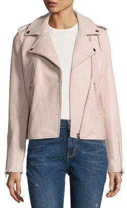 Neiman Marcus Leather Moto Jacket, Blush $395 thestylecure.com