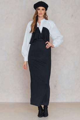 boohoo Double Layer Maxi Dress Black