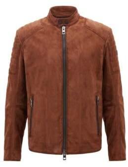 BOSS Hugo Slim-fit biker jacket hand-treated suede outer 36R Khaki