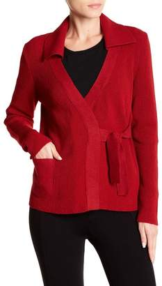 Beyond Threads Office Self Tie Knit & Felted Wool Blend Cardigan