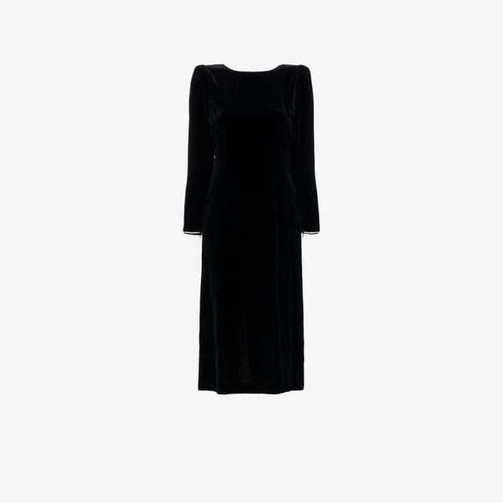 crystal embellished open back silk blend velvet dress