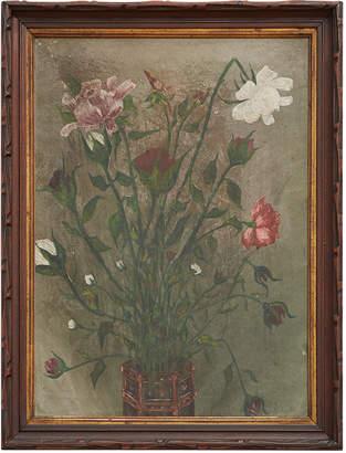 Rejuvenation Folk Painted Vase of Summer Roses