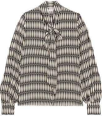 Lanvin - Pussy-bow Printed Silk Crepe De Chine Blouse - Black $1,590 thestylecure.com