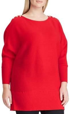 Lauren Ralph Lauren Plus Plus Ribbed Button-Shoulder Sweater