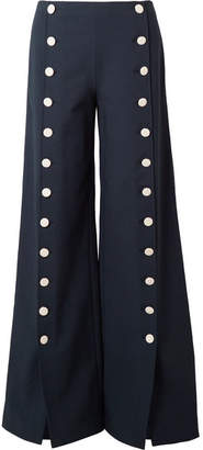 Carrie Button-embellished Crepe Wide-leg Pants - Navy