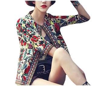 RDHOPE-Women RDHOPE Women Tribal Aztec Print Stylish Short Cardigan Outwear Jacket M