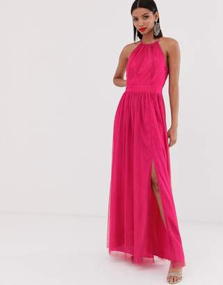 Little Mistress gathered neck pleated maxi dress in fuschia