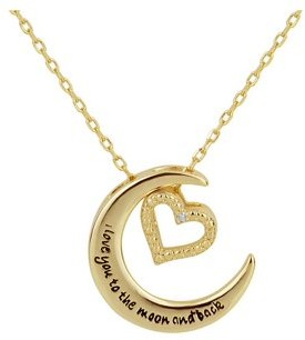 Forever New 2 Tones Sterling Silver Crescent Moon with Diamond Accent Heart Charm Interchangable Necklace 18 Inch