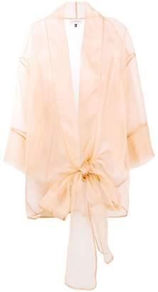 Murmur sheer oversized bow shirt