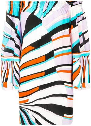 Emilio Pucci Shell Print Off-Shoulder Silk Top