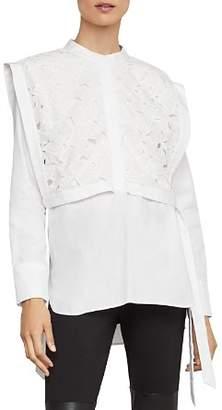 BCBGMAXAZRIA Embroidered-Bib Overlay Shirt