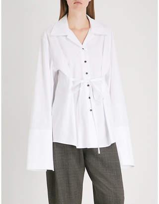 DANIEL POLLITT Self-tie cotton-poplin shirt