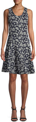 Derek Lam Scoop-Neck Sleeveless Fit-and-Flare Floral-Print Dress
