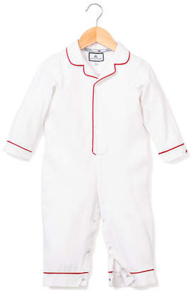 Petite Plume Solid Collared Coverall w/ Contrast Piping, Size 0-24 Months