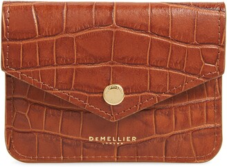 DeMellier Mini Notting Hill Croc Embossed Leather Coin pouch