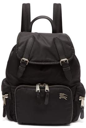 Burberry Medium Nylon And Leather Backpack - Womens - Black