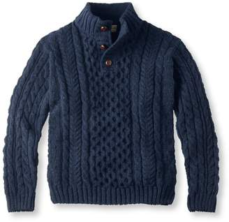 L.L. Bean L.L.Bean Heritage Sweater, Irish Fisherman's Button-Mock