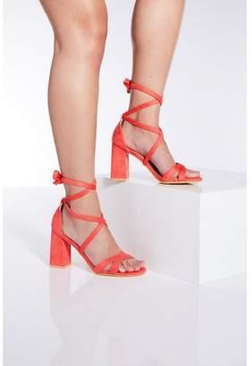 Quiz - Coral Tie Up Block Heel Sandals