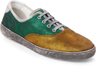 Marc Jacobs Green & Gold Distressed Metallic Leather Sneakers