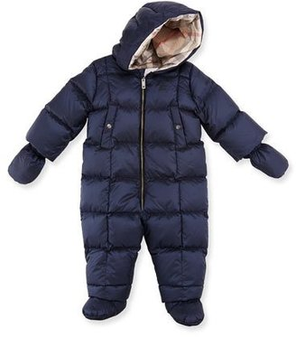Burberry Skylar Quilted Down Snowsuit, Navy, Size 3-18 Months $350 thestylecure.com