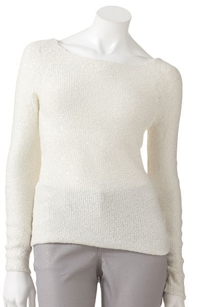 JLO by Jennifer Lopez lurex embellished sweater