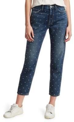 Current/Elliott The Vintage Studded Slim Crop Jeans