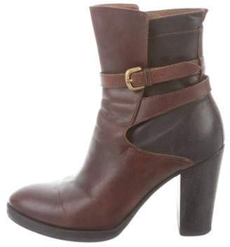 Billy Reid Leather Round-Toe Ankle Boots Brown Leather Round-Toe Ankle Boots