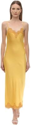 Long Viscose Satin & Lace Dress