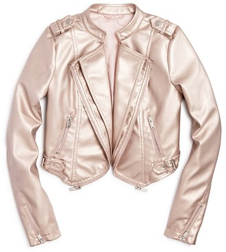 AQUA Girls' Metallic Faux Leather Cropped Jacket , Sizes S-XL - 100% Exclusive $98 thestylecure.com