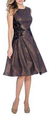 Decode 1.8 Lace-Floral Crinkled Taffeta Fit-&-Flare Dress