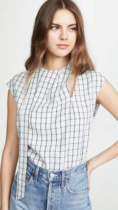 Tibi Sleeveless Pleated Tie Top