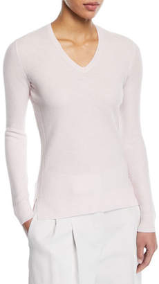 Loro Piana V-Neck Long-Sleeve Waffle-Knit Top