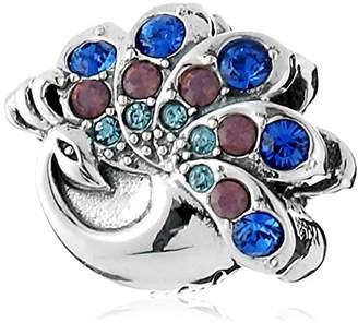 Swarovski Chamilia Sterling Silver and Crystal Beautiful Peacock Bead Charm